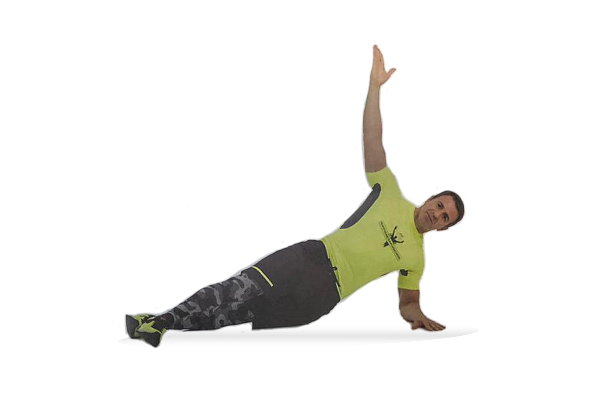 Side plank & flex on forearm