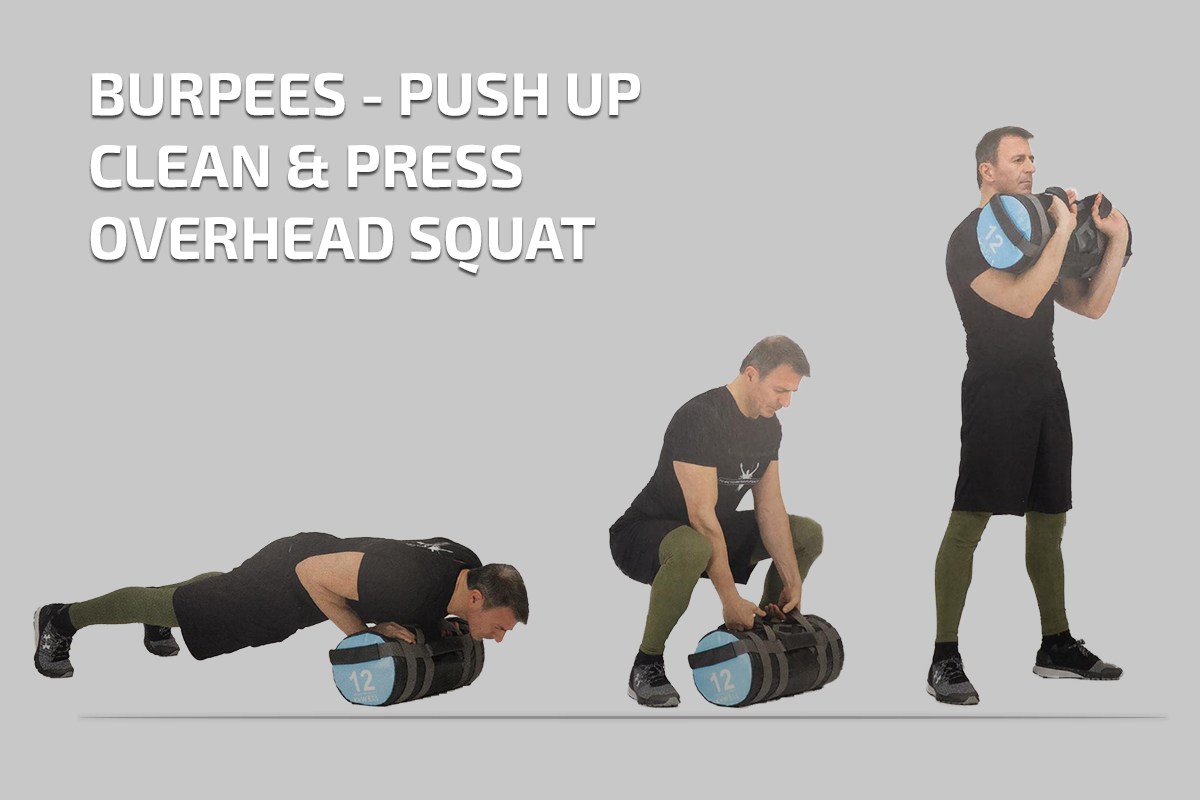 Burpess – Push Up – Clean & Press – Overhead Squat