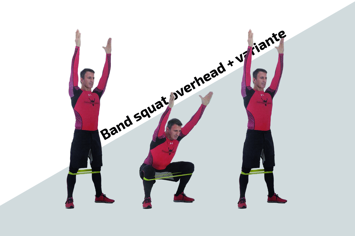 Band squat overhead + variante manubri