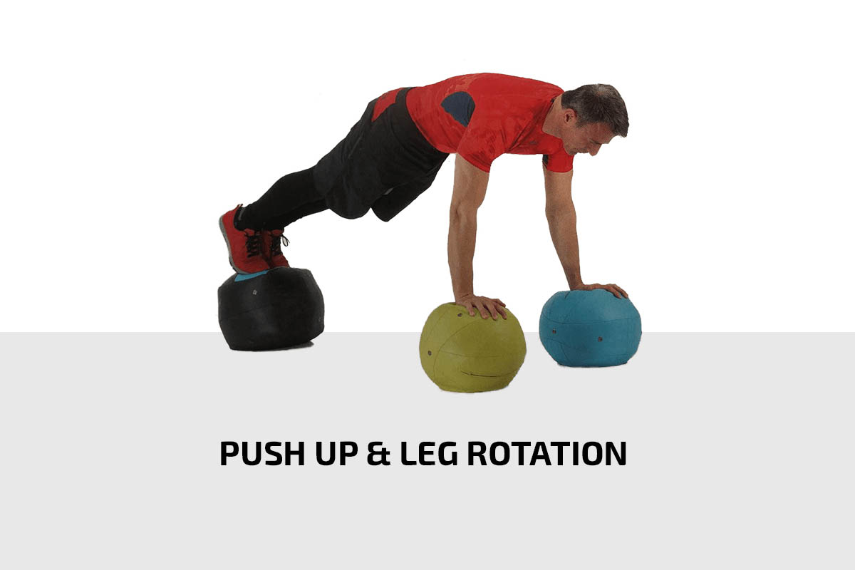 Push up & leg rotation